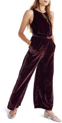 Madewell Twist Front Velvet Jumpsuit