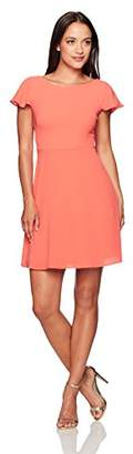 London Times Women's Crepe Dress with Shoulder Ruffles