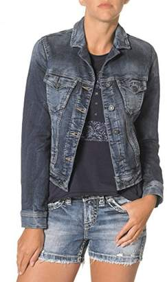 Silver Jeans Women's Long Sleeve Joga Denim Jacket $88 thestylecure.com