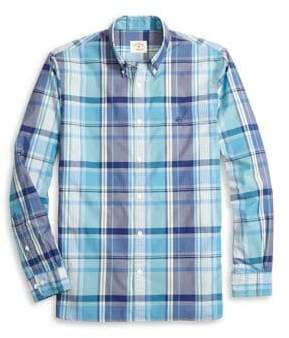Brooks Brothers Red Fleece Plaid Yarn Dyes Button-Down Shirt