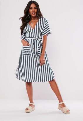 Missguided Navy Stripe Plunge Midi Dress
