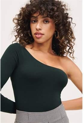 Dynamite Long Sleeve One-Shoulder Bodysuit Scarab Green