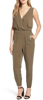 Trouve Sandwashed Surplice Jumpsuit