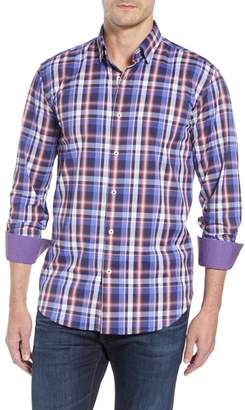 Bugatchi Plaid Shaped Fit Sport Shirt
