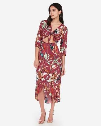 Express Floral Tie Front Cut-Out Wrap Maxi Dress