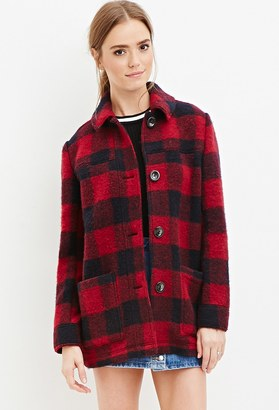 FOREVER 21+ Buffalo Plaid Wool-Blend Coat $59.90 thestylecure.com