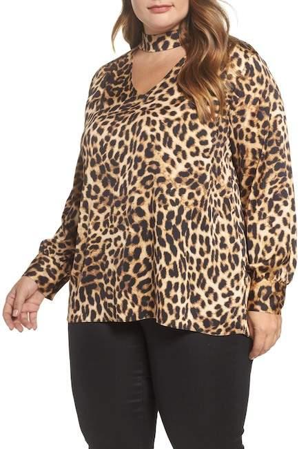Mock Choker Neck Leopard Print Top (Plus Size)