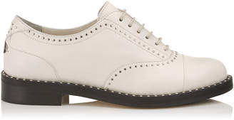 Jimmy Choo REEVE FLAT Chalk Nappa Leather Brogues with Micro Studs