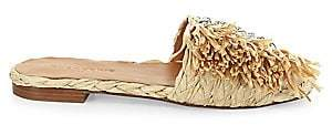 Clergerie Women's Amazing Raffia Fringe Slides Sandals