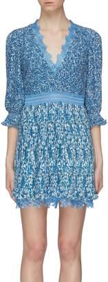 75465b8f85955 Alice + Olivia 'Jonna' lace trim floral print pleated mini dress