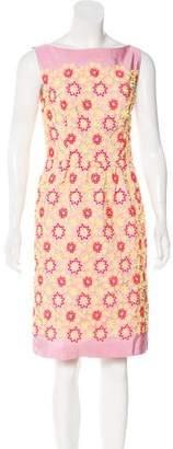 Prada Floral Appliqué Knee-Length Dress