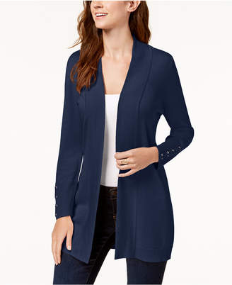 JM Collection Lace-Up-Sleeve Cardigan, Created for Macy's