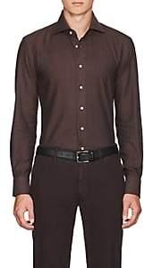 Cifonelli Men's Herringbone Cotton-Wool Flannel Shirt - Brown