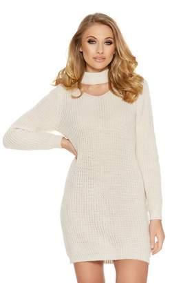Quiz Stone Knit Choker Long Sleeve Jumper Dress