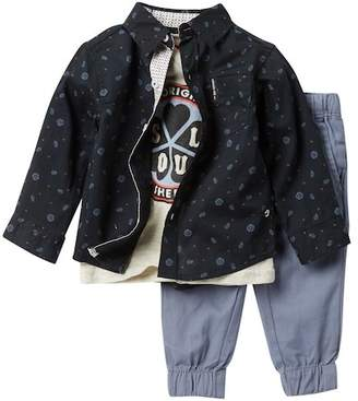 Ben Sherman Button Down Shirt, Logo T-Shirt, & Joggers Set (Baby Boys)