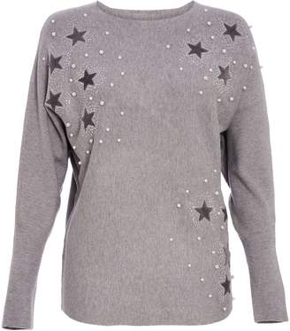 Next Womens Quiz Knit Pearl Embellished Long Sleeve Jumper