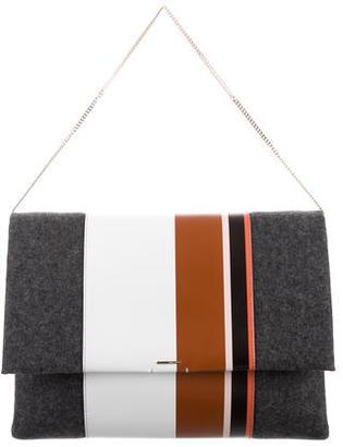 Hugo Boss Wool & Calfskin Shoulder Bag w/ Tags $375 thestylecure.com