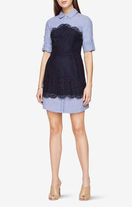BCBGMAXAZRIA Kaylin Lace-Blocked Striped Shirt Dress
