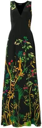 Alberta Ferretti jungle print sleeveless maxi dress