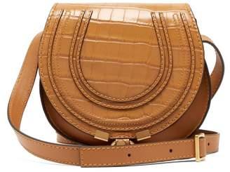Chloé Marcie Mini Croc Effect Leather Cross Body Bag - Womens - Amber