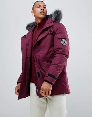 Bellfield Parka With Faux Fur Hood In Burgundy