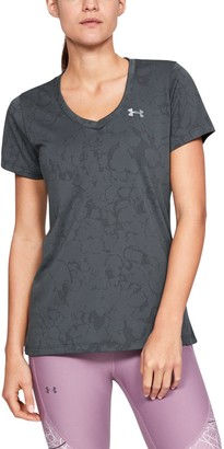 Under Armour Women's UA Tech Short Sleeve V-Neck Marble Jacquard