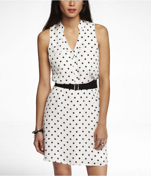 Express Polka Dot Shirt Dress