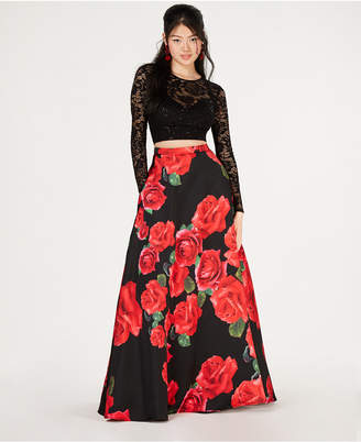 B. Darlin Juniors' 2-Pc. Lace Top & Printed Long Skirt, Created for Macy's