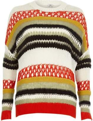River Island Womens Orange multi colour stripe mixed knit jumper