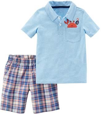 Carter's Toddler Boy Crab Pocket Polo & Plaid Shorts Set