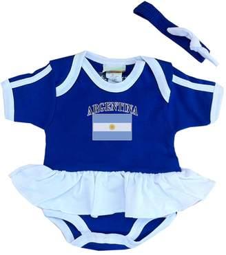PAM GM Argentina Baby Girl Soccer Ruffle Bodysuit