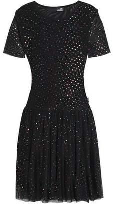 Love Moschino Gathered Embellished Tulle Mini Dress