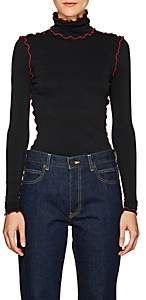 Proenza Schouler Women's Scalloped-Trim Fitted Turtleneck Top - Black