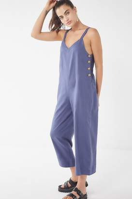 Urban Outfitters Marta Linen Side-Button Jumpsuit