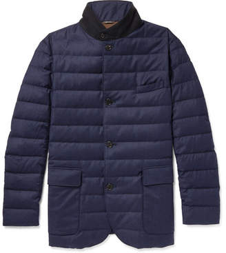 Loro Piana Roadster Rain System Wool and Silk-Blend Down Jacket - Men - Navy