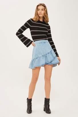 Topshop MOTO Denim Ruffle Skirt