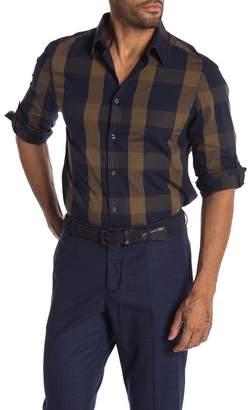 Perry Ellis End On End Plaid Print Slim Fit Shirt