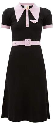 JoosTricot Peachskin Point Collar Ribbed Cotton Blend Dress - Womens - Black Pink