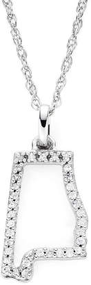 JCPenney FINE JEWELRY 1/10 CT. T.W. Diamond Sterling Silver Alabama State Pendant Necklace