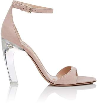 Valentino Women's Acrylic-Glass-Heel Suede Sandals