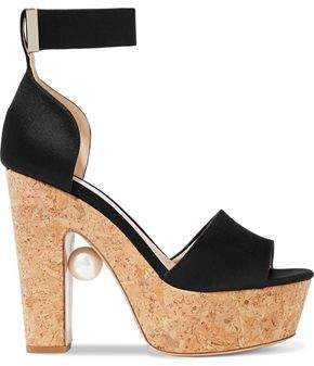 9712e48674e Nicholas Kirkwood Faux Pearl-embellished Satin And Cork Platform Sandals