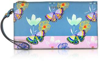 Furla Butterfly Printed Toni Veronica Saffiano Leather Babylon Xl Envelope Clutch