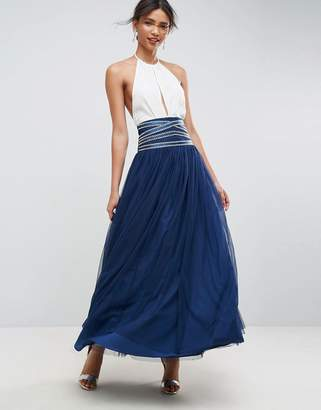 Asos DESIGN Maxi Tulle Skirt with Crossover Embellished Waistband