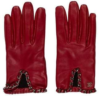 Chanel Chain-Trimmed Lambskin Gloves w/ Tags