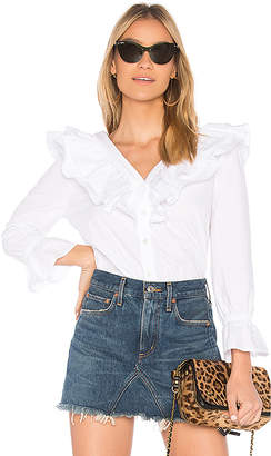 J.o.a. Button Up Ruffle Top