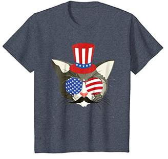 Funny Cat Glasses Mustache Patriotic Shirt 4th of July