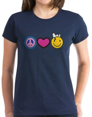 fa69b14e5 CafePress - Peanuts Peace Love Snoopy T-Shirt - Womens Cotton T-Shirt