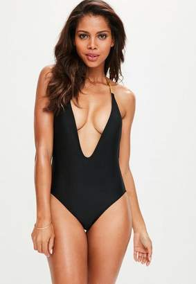 Missguided Black Plunge Detail Chain Swimsuit