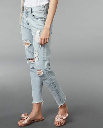 Express High Waisted Distressed Original Mom Ankle Jeans