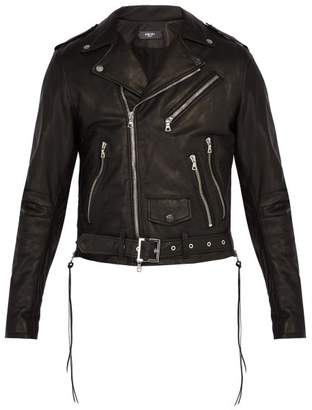 Amiri Leather Biker Jacket - Mens - Black